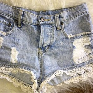 Carmar Crochet Lace Denim Jean Shorts